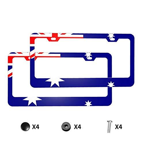 Aluminium-Kennzeichenrahmen mit Schraubkappen, Flagge von Australien, 2 Stück, 2 Löcher, Kennzeichenhalter für Fahrzeuge
