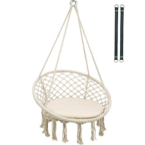 RedSwing Hammock Chair Macrame Swing with Cushion and Hardware Kits, Cotton Rope Hanging Hammock Chair for Adults, Indoor and Outdoor Use