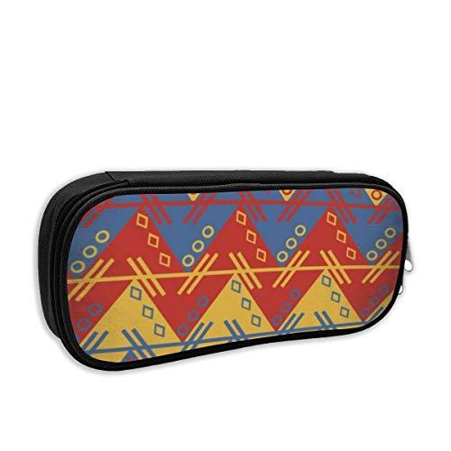 IOPLK Niedliche Leinwand Pencil Case Pen Bag, tragbare Bleistifttasche mit Fächern für Teen Girls (Native American Symbole)