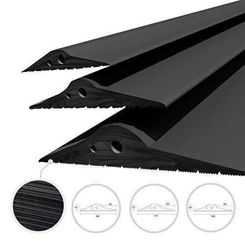 DQ-PP GARAGENTOR DICHTUNG | 1m | 15mm x 80mm | schwarz | Bodenabdichtung aus EPDM | Gummidichtung | Garagendichtung | Gummischwelle | Türschwellendichtung Bodenplatte