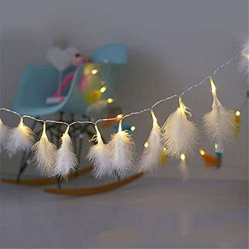 Guirlande lumineuse LED 2 mètres en plumes naturelles avec piles Blanc chaud pour festival de Noël, mariage, fête, jardin, maison, salon