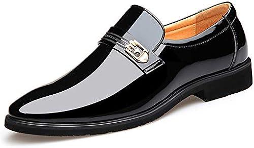FRWANG Niedrige Lackleder Formelle Schuhe Einfache Kleid Schuhe Herren Business Schuhe Slip on