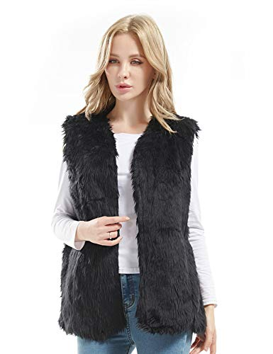 Bellivera Women's Faux Fur Vest Warm Sleeveless Outwear for Spring Fall and Winter Black Small