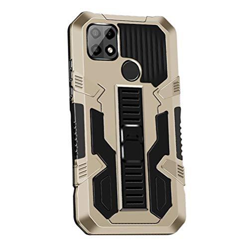 MOONCASE Cover per Oppo A15 6.52 , Custodia del Telefono Cellulare Antiurto Sottile e Robusta con di Supporto [Grado Militare] Custodia Protettiva -Oro