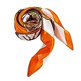Alberto Cabale Foulard Carré Soie Femmes Accessoire Bandeau pour Tête Cheveux Cou Epaules ou Sac à Main Ceinture avec sa Pochette Cadeau couleur Orange Creme