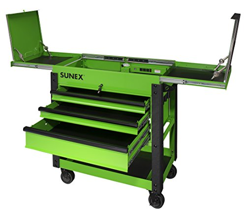 Sunex 8035XTLG 3 Drawer Service Cart with Sliding Top- Lime Green