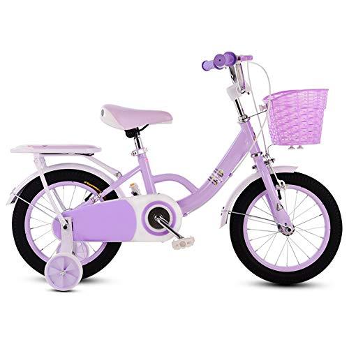 YUMEIGE Kinderfahrräder Kinderfahrräder mit Stützrad Kinderfahrrad 12 14 16 18 Zoll Geeignet für 3-9 Kinder Jahre alt Geschenk Rosa Lila (Color : Purple, Size : 14in)