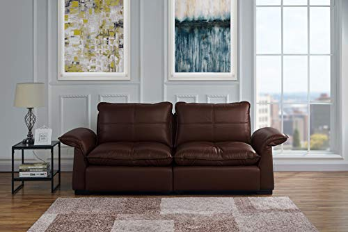 Classic Living Room Tufted Leather Sofa with Adjustable Arm Rests (Dark Brown)