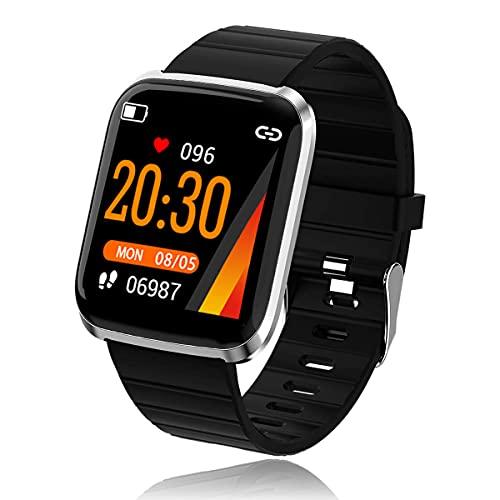 Smartwatch,Bluetooth Reloj Inteligente con Pulsómetro, Cronómetros, Calorías, Monitor de Sueño, Podómetro Pulsera Actividad, Reloj Inteligente Impermeable IP67 para Hombre Muje(Plata)
