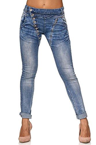 Elara Damen Jeans Boyfriend Baggy Knopfleiste Chunkyrayan C613M Blue 44/2XL