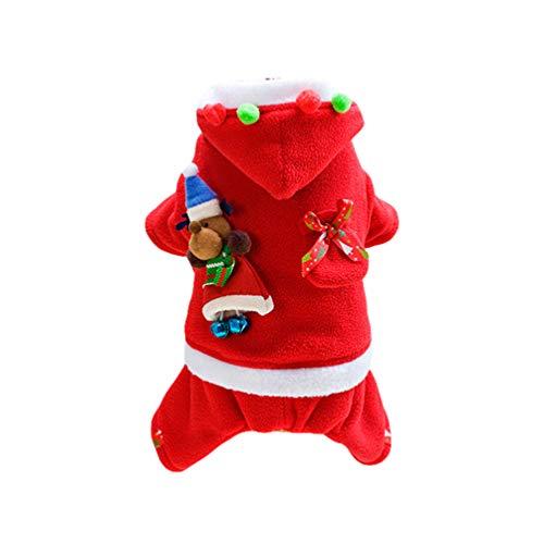 YOUJIAA Hund Katze Weihnachtskostüm Weihnachtsmann Outfit mit Kapuze Winter Atmungsaktive Haustier Outwear (Rot   Weiblich, CN M)