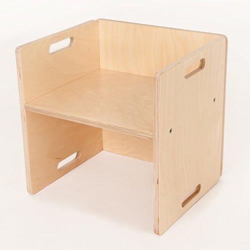 FLIXI Kindermöbel – Kinderstuhl für eine Sitzgruppe aus Holz – mitwachsende Möbel mit Wendehocker – aus Birken-Multiplexholz