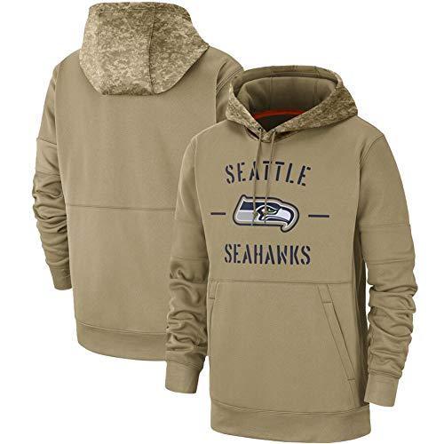 GOLOFEA Seahawks American Football Jersey Langarm, Herren Rugby Jersey Pullover Bequemes winddichtes Sportswear Rollkragen Hoodie Sports Top Khaki-XXXL