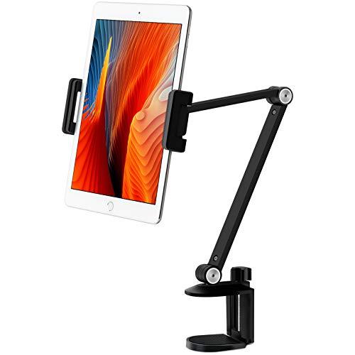 Viozonタブレット ス タンド ホルダー マウ ント、360°回転可能、 ⾼さと⾓度の調整可 能、ハイグレードアル ミニウム合⾦アーム、 4.5-13インチの携帯電 話とタブレット、 iPhone、iPadに適⽤(黑)