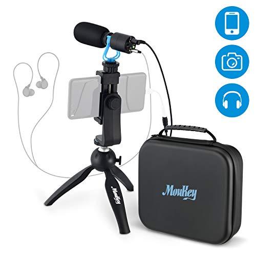 Moukey Kamera Mikrofon Video Mikrofon Mini Aufnahmemikrofon MCm-2 Video Kondensatormikrofon rode mic mit Monitor Funktion und Mini MicStativ für DSLR-Kamera, Smartphone, Vlogging, Canon/Nikon/Sony
