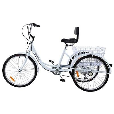 Ridgeyard 7 Speed 24 Inch 3 Wheel Adult Tricycle Bike Cycling Pedal Cruiser Bicycles Road Bike Folding Basket (White)