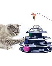 猫 おもちゃ ボール回転タワー 4層回転くるくる タワー 猫じゃらしが付き 猫用 遊ぶ盤 円盤 遊び好き天性満足 運動不足解消