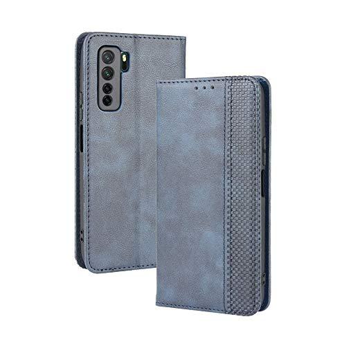 LAGUI Kompatible für Huawei P40 lite 5G Hülle, Leder Flip Hülle Schutzhülle für Handy mit Kartenfach Stand & Magnet Funktion als Brieftasche, Blau