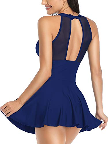 FLYILY Women's One Piece High Waist Swimdress Tummy Control Swimsuit with Shorts Retro Beachwear Halterneck Swimwear (Navy, XXL)