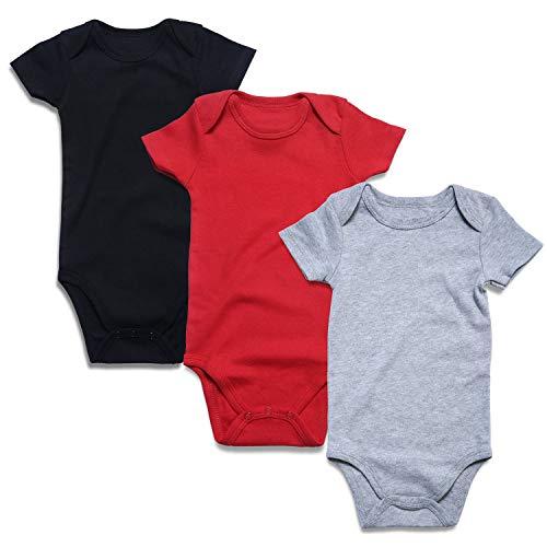 romperinbox ベビー服 ロンパース 長袖 半袖 春 冬 男の子 女の子 黒 白 グレー 綿100% 新生児 赤ちゃん 肌着 下着 ボディスーツ 無地 3枚セット 0-24M 出産祝い プレゼント (0-3ヶ月 半袖赤・黒・灰)