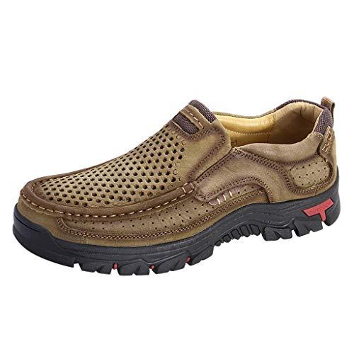 Herren Outdoor Hohlwander schuhe aus rutschfestem Leder mit runder Kappe und abriebfesten Schuhen Sportschuhe Sneaker Freizeitschuhe