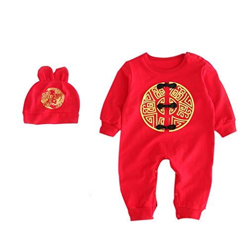 Baby Strampler Unisex Kinder Kleinkind Neugeborenes Chinesischer Stil Stickerei Knöpfen Romper Bodysuit + Hüte + Socken Outfits Set Babykleidung (Schwarz, 90)