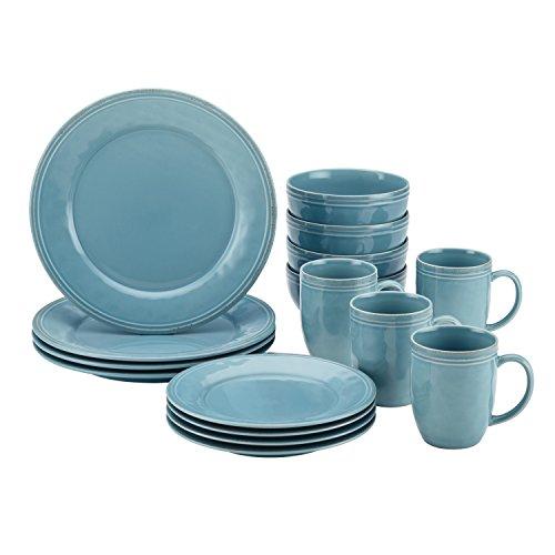 Rachael Ray Cucina Dinnerware 16-Piece Stoneware Dinnerware Set, Agave Blue