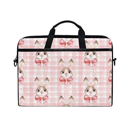 HaJie Laptop-Tasche Gitter Kaninchen Tiermuster Druck Computer Fall 14-14,5 in Schutztasche Reise Aktentasche mit Schultergurt für Männer Frauen Jungen Mädchen