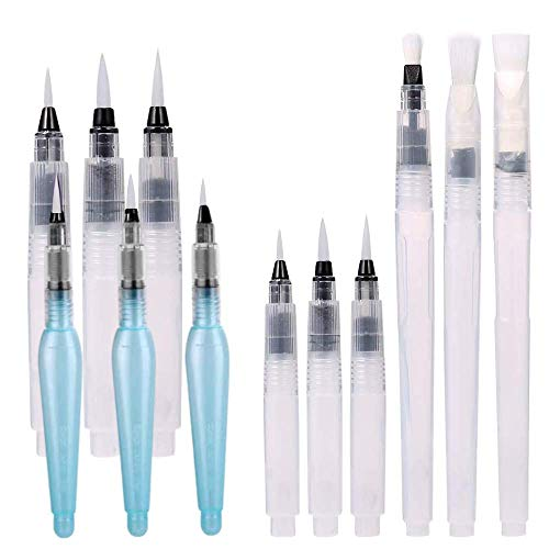 Wassertankpinsel,Packung mit 12 Aquarellpinsel Set und Wasser Pinselstiften für Aquarelle,Beschriftung