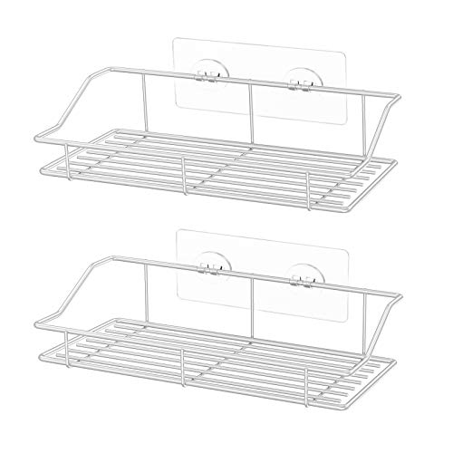 SMARTAKE 2Pack Shower Caddy Adhesive Bathroom Shelf Wall Mounted No Drilling Strong Shower Caddies Kitchen Racks  Stainless Steel Storage Organizers 99 Inches White
