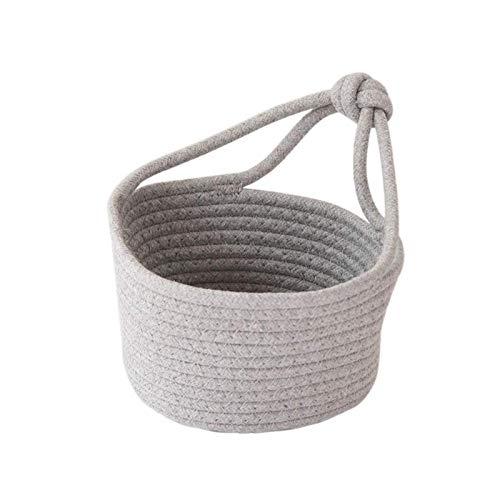 Cesta de almacenamiento tejida para colgar en la pared, cuerda de algodón, organizador de lavandería, color blanco