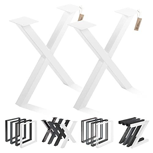 LAMO Manufaktur Tischbeine für Sitzbank, Couchtisch, Beistelltisch, Mark, Vierkantprofil 40x40 mm, Tischgestell 40x43 cm (BxH), Weiß, 2 Stück, LTS-03-F-BB-9016