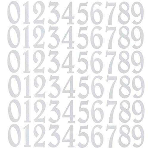 Diggoo 60 Pieces Reflective White Mailbox Numbers Sticker Decal Die Cut Elegant Style Vinyl Number 2