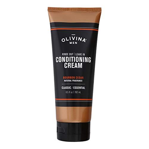 Olivina Men Rinse Out, Leave In Conditioner Cream, Bourbon Cedar, 6.5 Fl Oz