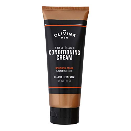 Olivina Men Rinse Out, Leave In Conditioner Cream, Bourbon Cedar, 6.5 Fl Oz