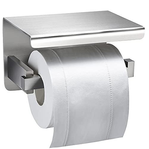 YIGII Portarrollos Baño - Portarrollos Para Papel Higiénico Adhesivo Porta Rollos de Papel Higienico con Estante de Almacenamiento, Acero Inoxidable (Plata)