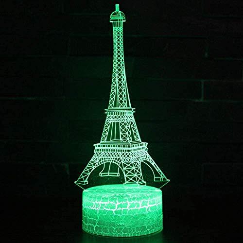 3D ilusión lámpara led noche luz parís monumento turístico tema 7 cambio de color toque Navidad estado de ánimo presente habitación decoración sueño lámpara niños regalo