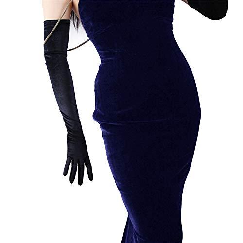 DooWay Lange Samthandschuhe für Damen, Opernlänge, Kostüm, Abend, Bankett, Stretch, 61 cm, Erwachsenengröße - Schwarz - 60 cm