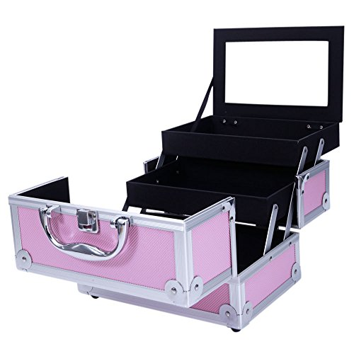 """Aluminum Makeup Train Case Jewelry Box Cosmetic Organizer with Mirror 9""""x6""""x6"""" Pink"""