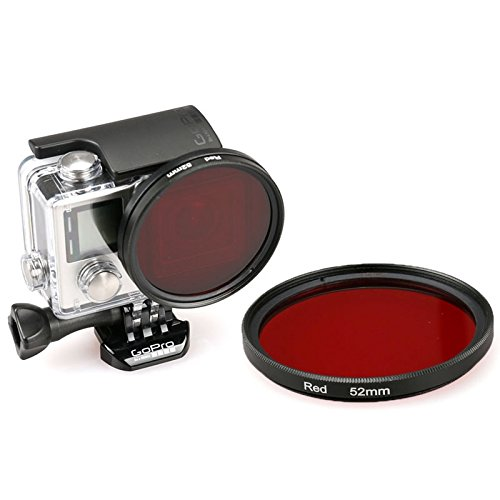 52 millimetri rotonda UV Lens cerchio di colore del filtro for GoPro HERO 4/3+, Accessori per action camera (Color : Red)