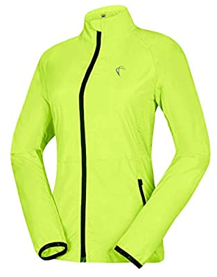 J.CARP Women's Packable Windbreaker Jacket, Super Lightweight and Visible, Outdoor Active Cycling Running Skin Coat, Yellow M