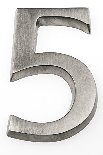 HUBER Hausnummer Nr. 5 Aluminium eloxiert 10 cm, edles dreidimensionales Design