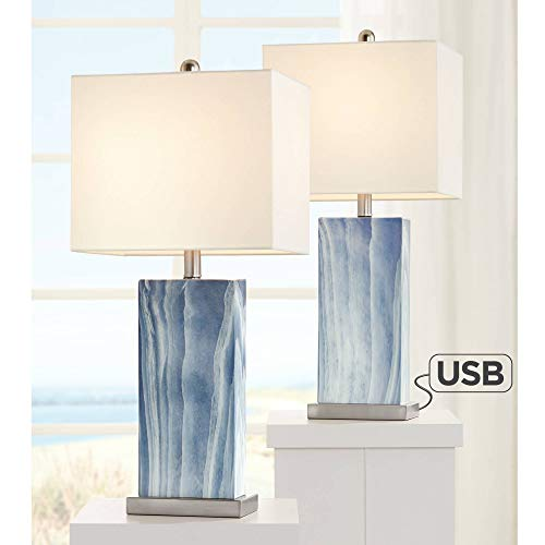 Connie Modern Table Lamps Set of 2 with USB Charging Port Rectangular Blue White Fabric Shade for Living Room Bedroom Bedside Nightstand Office Family - 360 Lighting