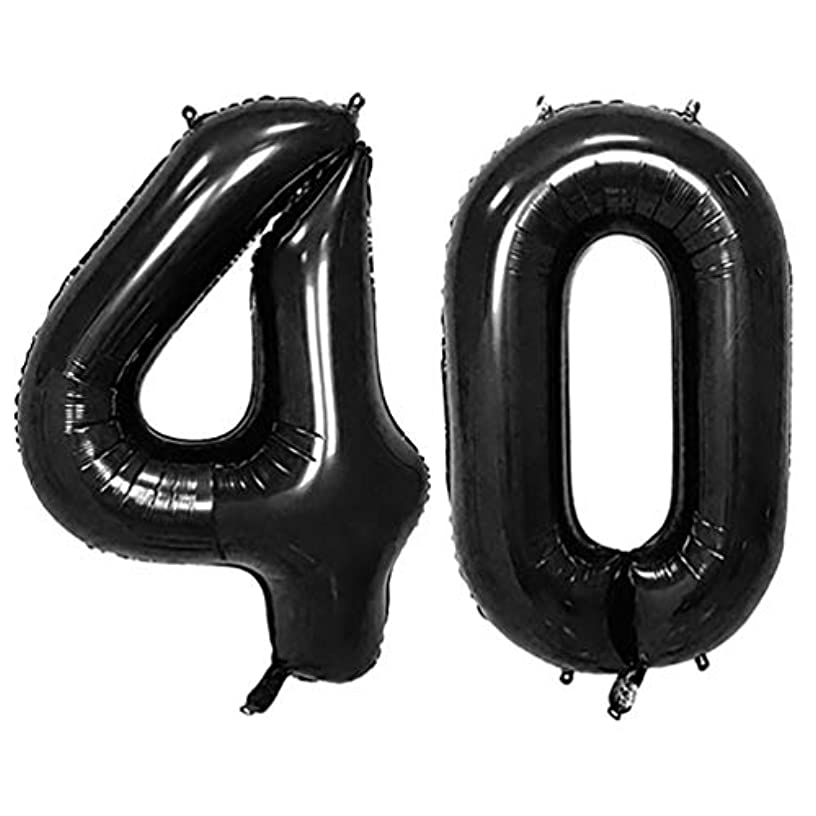 KEYYOOMY 40 in Big 40 Number Balloons Black Large Foil Mylar Number 40 Balloons for 40 Birthday Party Anniversary Decorations (40, Black Color)