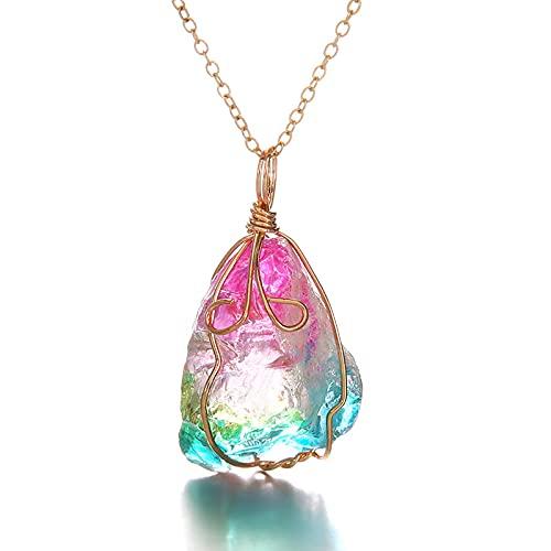 Colgante Árbol de la Vida, Piedra Naturales Arcoiris Chapado en Oro Collar Cristal para Damas Mujeres Hombres Regalos Accesorios Piedras Preciosas Envueltas En Alambre Hecho A Mano Mujer