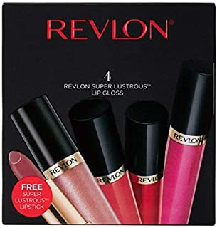 Revlon Super Lustrous Lip Gloss, 4 Piece Lip Kit Gift Set (205 Snow Pink, 245 Pango Peach, 240 Fatal Apple, 210 Pinkissimo + 1 FREE Super Lustrous Lipstick in 420 Blushed), 5.4 oz