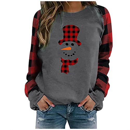 Christmas Shirts for Women Gnome Reindeer Graphic Plaid Splicing Tops Long Sleeve Sweater Plus Size Trendy Sweatshirts