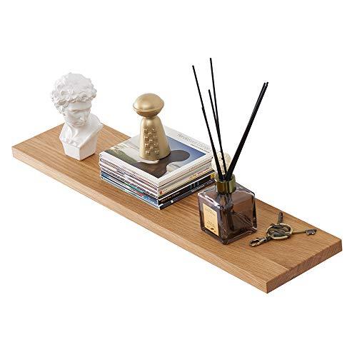 Estante flotante de madera de roble macizo de INMAN HOME para pared de madera de roble macizo, estante para colgar en la pared, estante de exhibición para libros, roble, natural, 60 cm