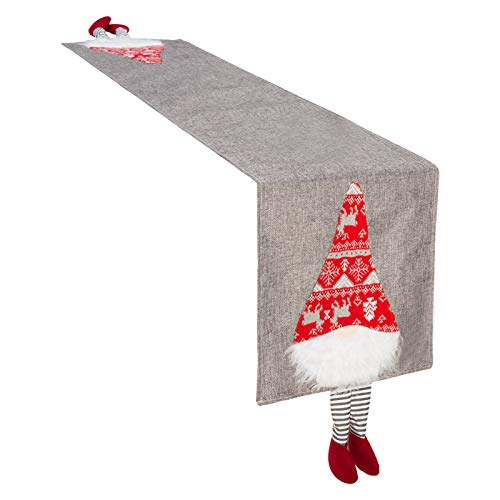 "Christmas Swedish Tomte Table Runner- 85"" × 13"" Xmas Plush Gnome Dolls Tablecloth Washable Table Linens Table Centerpieces Party Favors for Christmas Holiday Family Dinner Gathering Everyday Use(Gray)"