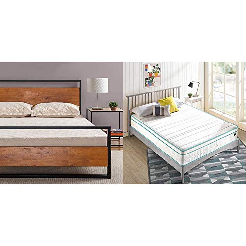 Zinus Suzanne Metal and Wood Platform Bed with Headboard and Footboard with ZINUS 12 Inch Memory Foam Spring Hybrid Mattress
